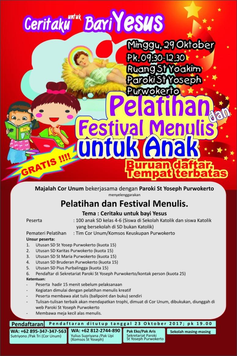Poster Pelatihan dan Festival Menulis Utk Anak