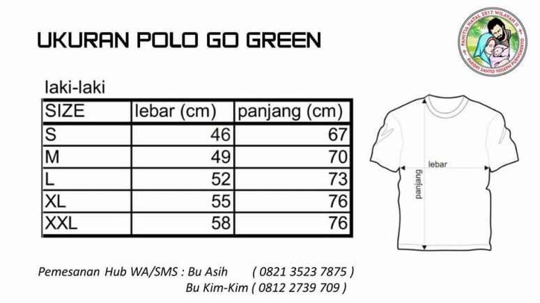 Kaos Go Green Sanyos-ukuran