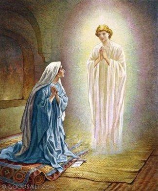 Maria diberi kabar gembira oleh malaikat Gabriel