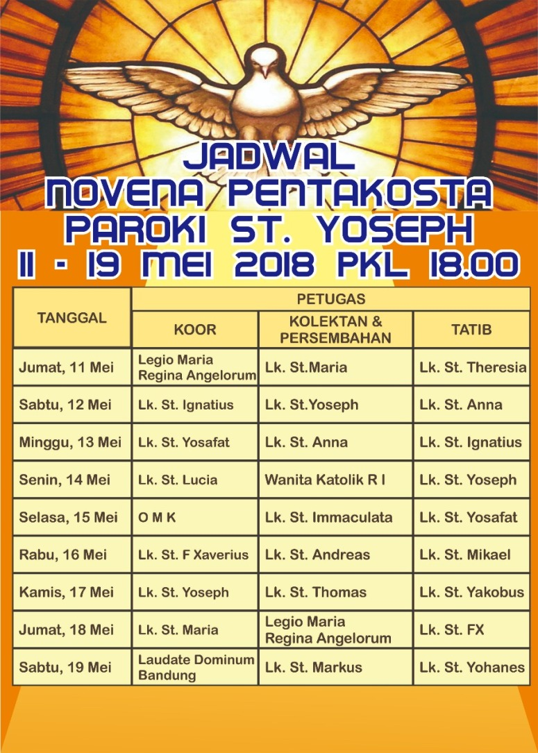 Jadwal Novena Pentakosta 2018