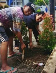 Pak RT setempat sedang menanam pohon