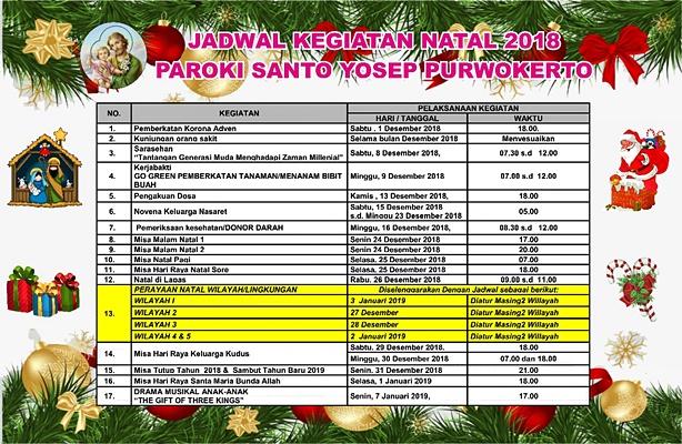 Jadwal Kegiatan Natal 2018