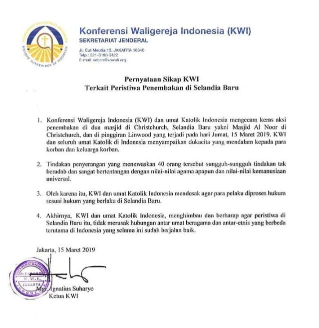 Pernyataan KWI tentang Kasus Penembakan di Selandia Baru