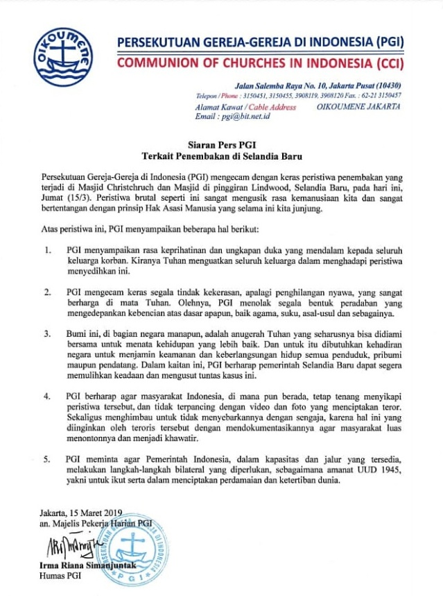 Pernyataan Sikap PGI tentang Penembakan di Selandia Baru