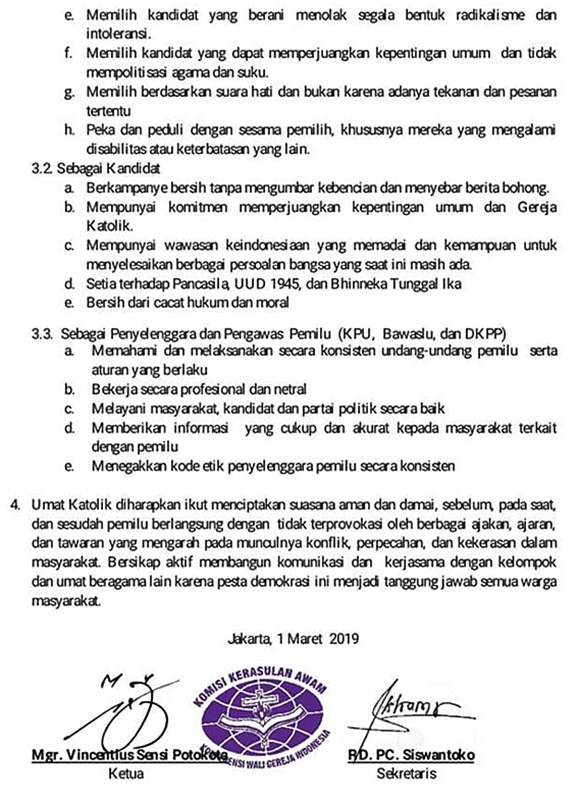 Seruan Moral Kerawam KWI Untuk Pemilu 2019-1