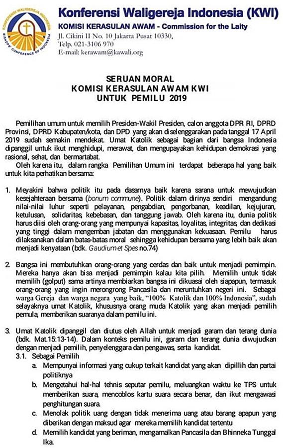 Seruan Moral Kerawam KWI Untuk Pemilu 2019