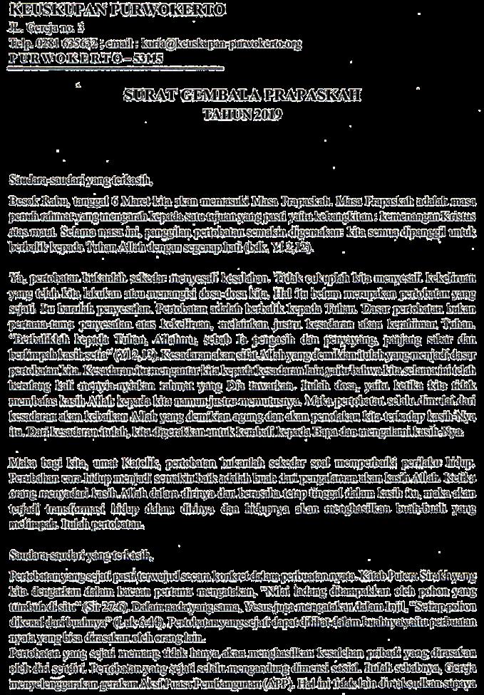 Surat Gembala Prapaskah 2019 - page 1