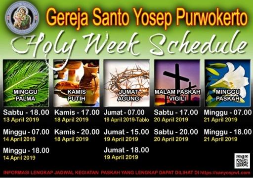 Jadwal Pekan Suci Paroki Sanyos 2019