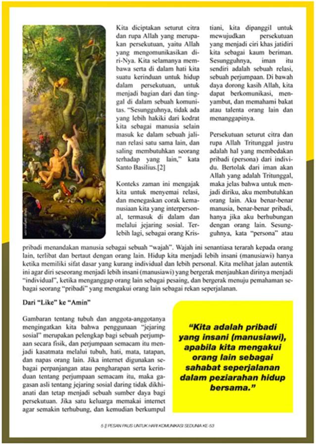 Pesan Paus Untuk Hari Komunikasi Sedunia ke-53 – hlm 5