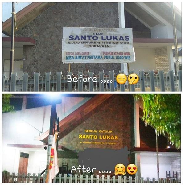 Kondisi sebelum dan sesudah pemasangan nama gereja