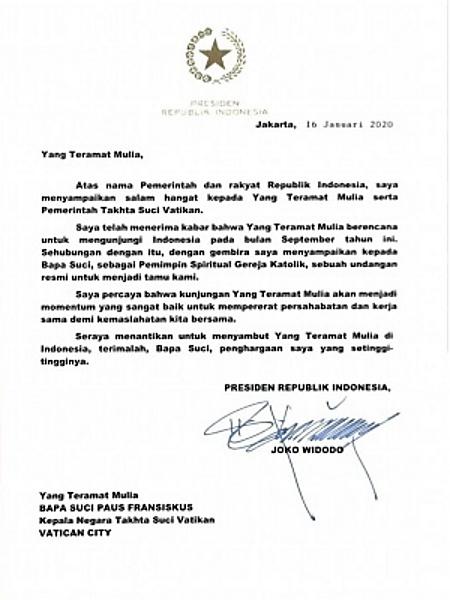 Surat Jokowi Kepada Paus Fransiskus