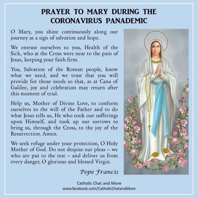 Doa Paus Fransiskus melalui Bunda Maria utk hadapi corona