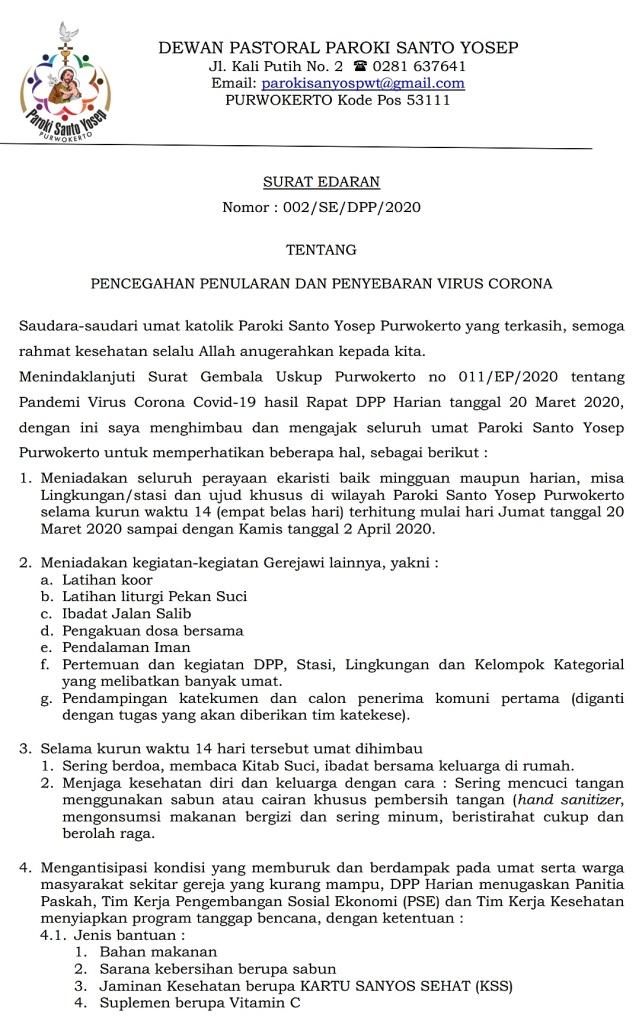 Surat Edaran DPP 21 Maret 2020