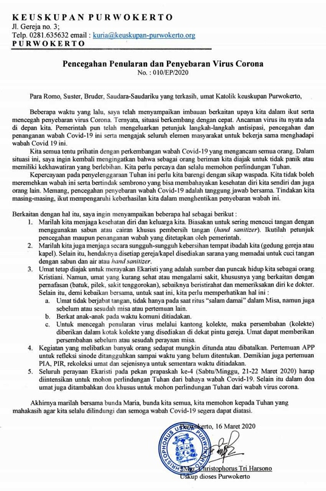 Surat Edaran Uskup Purwokerto tentang Pencegahan Penyebaran Corona